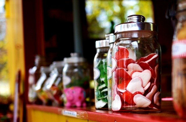 Jars with sweet fruit jelly