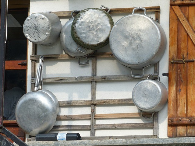 A collection of Aluminum cooking pots