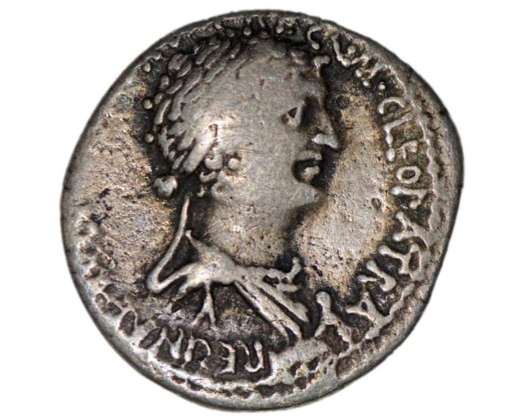 a coin with Cleopatras face