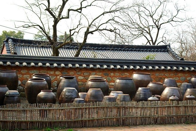 Vessels with fermenting Kimchi