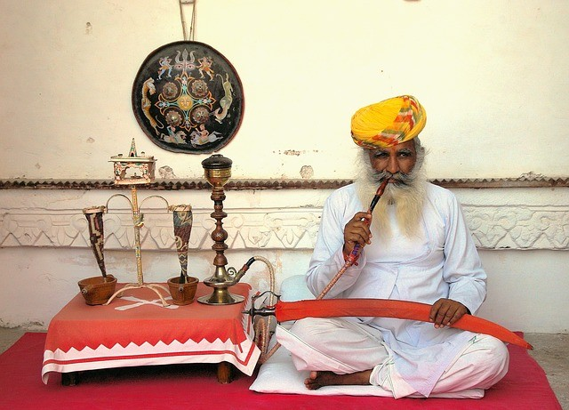 Opium smoker in India