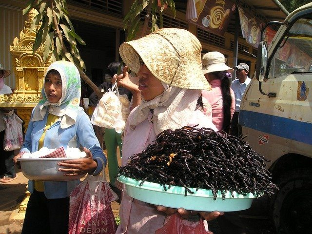 Selling insects in Cambodia
