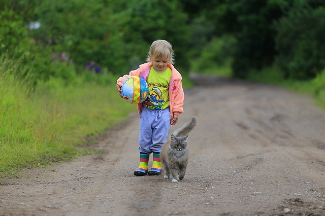 Small Girl with Cat