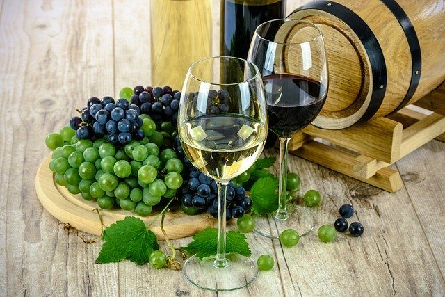 A glass of red or white wine